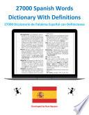 27000 Spanish Words Dictionary With Definitions