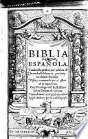 Biblia en lengua espanola, traduzida palabra por palabra de la verdad Hebrayca, por muy excelentes letrados ... y aora de nuevo corregida en casa de Ioseph Athias y por su ordē Impresa