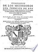Compendio De Los Metheoros Del Principe De Los Filosofos Griegos y Latinos de Aristoteles. ... Sacados A Lvz Por ... Murcia de la Llana (etc.)