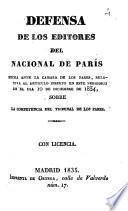Defensa de los editores del Nacional de París