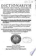 Dictionarium quatuor linguarum ...