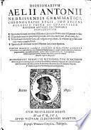 Dictionarivm Aelii Antonii Nebrissensis Grammatici, Chronographi Regii
