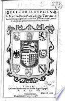 Doctoris Burgensis Marci Salon de Pace ad Leges Taurinas insignes com[m]entarij