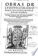 Obras de Ludovico Blosio, monge de la orden de San Benito