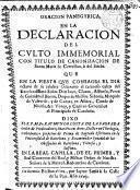 Oracion Panegyrica